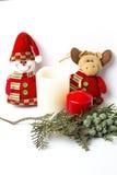 Christmas ornaments. Balls. Toys. Santa claus; Candles; Gifts; Stock Images