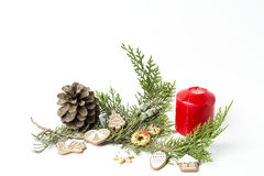 Christmas ornaments. Balls. Toys. Santa claus; Candles; Gifts; Stock Images