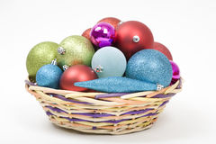 Christmas Ornaments Basket Stock Photography
