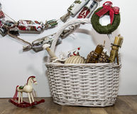 Christmas ornaments in the basket Royalty Free Stock Photography