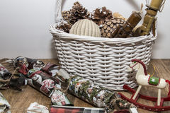 Christmas ornaments in the basket stock photography