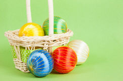 Christmas Ornaments in a Basket Stock Photo