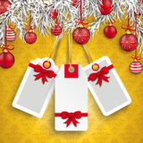 Christmas Ornaments Baubles Twigs 3 Empty Price Stickers Royalty Free Stock Photo