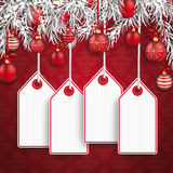 Christmas Ornaments Baubles Twigs Price Sticker Stock Photo