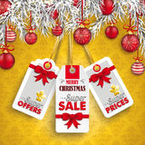 Christmas Ornaments Baubles Twigs 3 Price Stickers Stock Photo