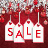 Christmas Ornaments Baubles Twigs Sale Price Sticker Stock Image