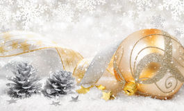 Christmas ornaments in beautiful snow stock image