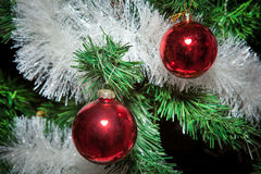 Christmas ornaments, bells, stars, balls, Christmas wreaths tabs, tree, holiday, new year, decorations for Christmas trees in the Stock Photography