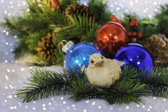Christmas ornaments with a bird Stock Images