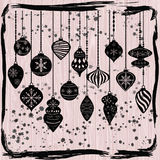 Christmas Ornaments,Black Christmas Balls Decorations,Christmas Hanging Decoration set. Stock Photos