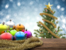 Christmas ornaments with blank space on blue background Stock Photo