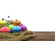 Christmas ornaments with blank space on white background Stock Photography