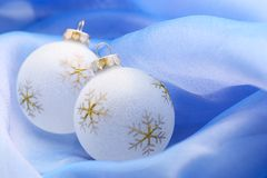 Christmas ornaments on blue Stock Image