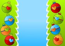 Christmas Ornaments Border Card royalty free stock photo