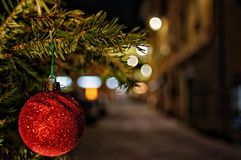 Christmas ornaments for the borough streets royalty free stock photo
