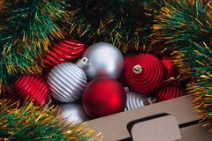 Christmas ornaments in a box Royalty Free Stock Photography