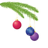 Christmas ornaments on branch. Illustration of three Christmas ornaments hanging from an evergreen branch Stock Image