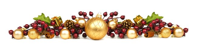 Christmas ornaments and branches border royalty free stock image