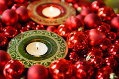 Christmas ornaments with candle lights Stock Image