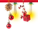 Christmas ornaments and candles Royalty Free Stock Photos