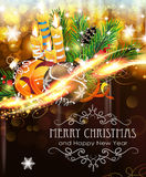 Christmas ornaments with candles and fir branches Stock Images