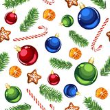 Christmas ornaments and candy canes seamless pattern royalty free stock images