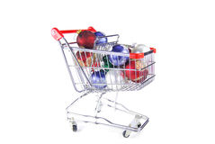 Christmas Ornaments in Cart Stock Photos