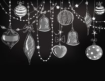 Christmas ornaments. Chalkboard style illustration Stock Image