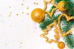 Christmas ornaments, with Christmas balls, stars, gold and silver colors. Christmas balls, stars, gold and silver colors Stock Image