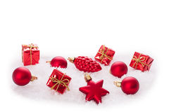 Christmas ornaments on Christmas tree with baubles Stock Photos