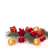 Christmas ornaments on Christmas tree with baubles Royalty Free Stock Photography