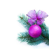 Christmas ornaments on Christmas tree with baubles Stock Photo