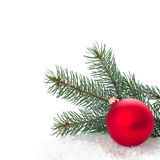 Christmas ornaments on Christmas tree with baubles Stock Images