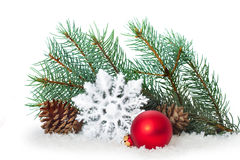 Christmas ornaments on Christmas tree with baubles Stock Image