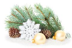 Christmas ornaments on Christmas tree with baubles Royalty Free Stock Images