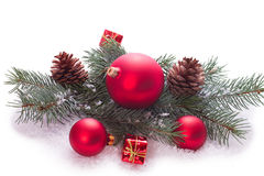 Christmas ornaments on Christmas tree with baubles Stock Photography