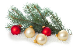 Christmas ornaments on Christmas tree with baubles Royalty Free Stock Photos