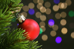 Christmas ornaments on the Christmas tree and city lights Royalty Free Stock Images