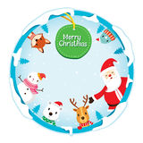 Christmas Ornaments On Circle Frame And Decoration Stock Photos