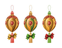 Christmas ornaments clip art isolated on white background, holiday design elements, ball with bow Royalty Free Stock Photo
