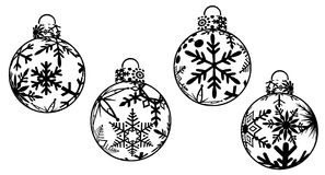 Christmas Ornaments Clipart. Christmas Ornaments Black and White Clipart Royalty Free Stock Images
