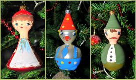 Christmas ornaments. Collage of some Christmas ornaments Stock Images
