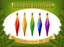 Christmas ornaments. Collection of decorative icicles Stock Photo