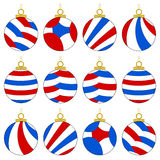 Christmas Ornaments. A collection of 12 multicolored Christmas ornaments in red, blue & white. Isolated on white Royalty Free Stock Photography
