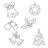 Christmas ornaments colouring pages. On white background Royalty Free Stock Image