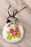 Aroma levander bag - Christmas tree decoration. Christmas ornaments cross-stitched bag filled with levander blooms Royalty Free Stock Photography