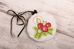 Aroma levander bag - Christmas tree decoration. Christmas ornaments cross-stitched bag filled with levander blooms Stock Photo