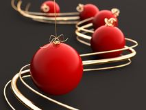 Christmas ornaments and gold lines 3d illustration. Christmas ornaments 3d illustration od gray backround Royalty Free Stock Photo