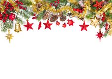 Christmas ornaments decoration fir tree branches. White background stock images