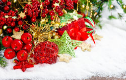 Christmas ornaments decoration and gift boxes stock images